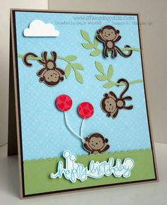 Stampin' Up! Fox & Friends Birthday Card, use my bamboo background emboss folder, also