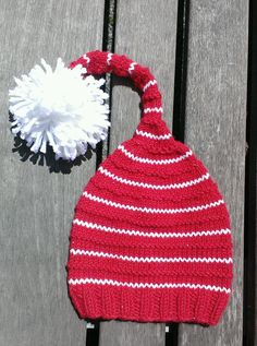 red knit Santa hat red knit pom pom hat red by UniqueKnitDesign