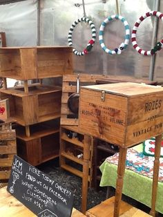 end table, coffee tables, pot and pan racks made out of upcycled wine crates and pallet wood - @jcm up-cycle on facebook