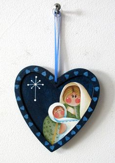 Mary and Baby Jesus Christmas Ornament Hand or Tole Painted
