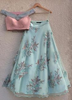 lehnga dress Sage Green Embroidered Lehenga with Off Shoulder Peach Pearl Blouse Indian Fashion Dresses, Indian Bridal Outfits, Indian Gowns Dresses, Dress Indian Style, Indian Designer Outfits, Fashion Outfits, Pakistani Dresses, Fashion Fashion, Pakistani Clothing