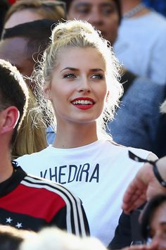 Lena Gercke, girlfriend of Sami Khedira of Germany, looks on prior to the 2014 FIFA World Cup Brazil Final match between Germany and Argentina at Maracana on July 13, 2014 in Rio de Janeiro, Brazil.