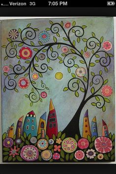 Canvas painting idea - love the tree