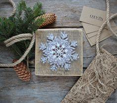 Купить Новогодняя снежинка в стиле стринг арт - белый, картина, панно, интерьерное украшение, снежинка