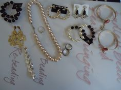 Variety jewelry: pearl necklace and earrings, gold and black jewelry!