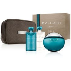 Bvlgari Aqva Pour Homme Gift Set ($88) ❤ liked on Polyvore featuring men's fashion, men's grooming, men's gift sets & kits, no color and bulgari