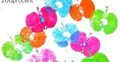 Med et par små æbler, forskellige farver maling, et par pensler og papir kan man trykke de fineste æbleprints. Æblerne skæres halvt over, pe...