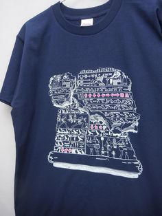 "Custom Screen Printed Short Sleeved Heavyweight Metro Blue T-Shirt ""Ancient Commands"" ,Available in 150 S M L XL and XXL"