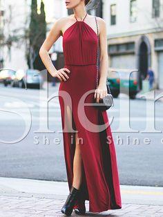 Shop Burgundy Halter Slit Maxi Dress online. SheIn offers Burgundy Halter Slit Maxi Dress & more to fit your fashionable needs.