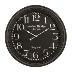 Wall Clock, Black, Iron/Glass/Paper