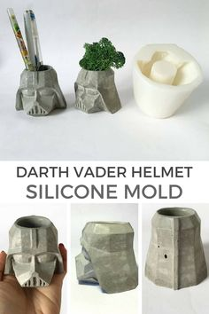This Darth Vader helmet inspired silicone mold is so awesome. The perfect geek home decor. #ad #concrete #starwars #darthvader #siliconemold #geek #homedecor #giftidea #cement