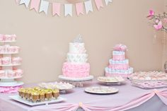 Grey and Pink, Butterflies and a Crown Girl Baby Shower sweet table.