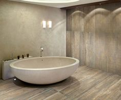 Wood Look Porcelain Tiles from Refin at Royal Stone & Tile in Los Angeles contemporary bathroom
