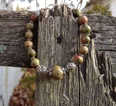 Unakite Peace Bead Bracelet on Etsy, $18.99