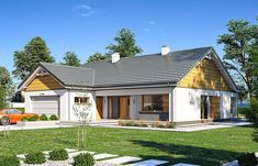 Projekt domu Parterowy 3 122,77 m2 - koszt budowy 235 tys. zł - EXTRADOM Merlin Home, Simple House Plans, Home Fashion, My Dream Home, Exterior, House Design, Cabin, House Styles, Outdoor Decor