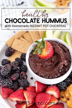 Healthy Chocolate Hummus made with Instant Pot garbanzo beans so it's extra smooth and silky! Enjoy as a snack, a side, or as a dessert with fruit, crackers, and more! #hummus #chocolatehummus #desserthummus