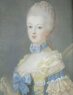 A portrait of Marie Antoinette by Joseph Ducreux (circa ~ she was 14 years old at the time of this sitting. - marie antoinette was a huge trend setter during this time. Chokers were also big in fashion to accent the neck. Joseph Ducreux, Marie Antoinette, Versailles, Jean Antoine Watteau, Maria Theresia, Kaiser Franz, Luis Xiv, French Royalty, Georgian Era