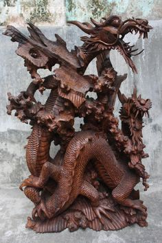 balinese artists and paintings | Two Dragon Bali Sculpture Hand Wood Carved Statue Bali Art Plaza ...