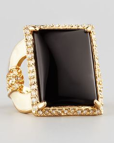 Square Ring, Black by Rachel Zoe at Neiman Marcus.