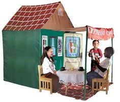 Your children will have fun pretending to run their very own cafe with this kids play tent. The large tent features a door that swings open and a window for ventilation. Its awning provides an additional shaded play area thats perfect for a table. Girls Playhouse, Indoor Playhouse, Build A Playhouse, Childs Playhouse, Indoor Playset, Simple Playhouse, Playhouse Ideas, Outdoor Play, Indoor Outdoor