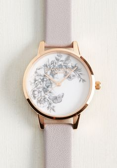 Timepiece of the Action Watch by Olivia Burton - Grey, Floral, Work, Casual, Rose Gold, Leather, Wedding, Daytime Party, Graduation, Wedding Guest, Vintage Inspired, Statement, Pastel, Spring, Summer, Fall, Winter