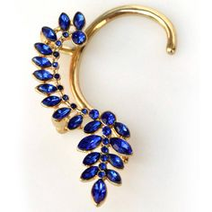 Looking at Over the Ear earrings. Elegant Royal Blue Crystal Rhinestones Over The Ear Earring Cuff Wrap
