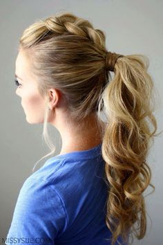 dutch-braid-mohawk-ponytail Learn How To Grow Luscious Long Sexy Hair @ Mohawk Hairstyles For Women, Dance Hairstyles, Ponytail Hairstyles, Pretty Hairstyles, Hairstyle Ideas, Latest Hairstyles, Amazing Hairstyles, Hairstyles Haircuts, Funny Hairstyles