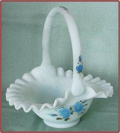 Fenton Blue Roses on Blue Satin Glass Basket