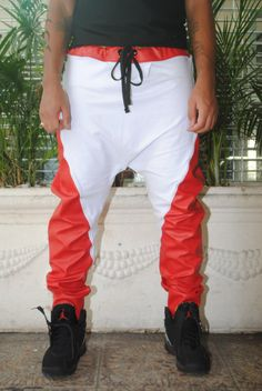 Drop Crotch Joggers Red Faux Leather & White Cotton by GAGTHREADS