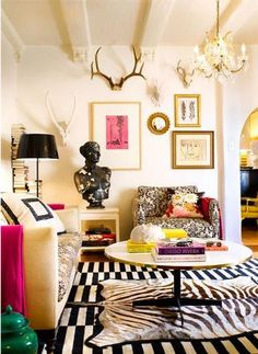 Love the black/white Damask print chair with floral pillow & Chandelier. Eclectic / Bohemian Style Room Décor.
