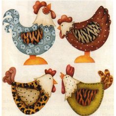 Auto adesivo galinha; how fun to use unexpected patterned paper to make chickens
