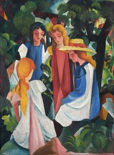 August Macke - Four Girls, 1912-1913, oil on canvas                                                   My four daughters.....even the hair colors are perfect.....❤️
