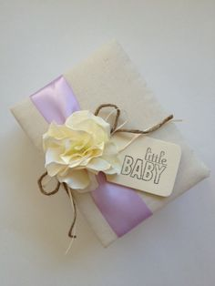 """Custom Design Baby Brag Book Photo Album - Ivory Hydrangeas - Choose Your Ribbon Color Combination - Hand Stamped """"Little Baby"""" Wood Tag"""