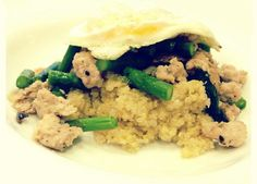 Easy dinners: Sweet Chicken Sausage Saute Over Quinoa (topped with a runny egg)