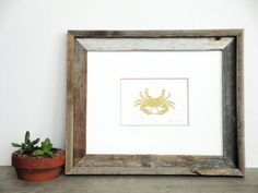 FREE SHIPPING Nautical Crab Illustration Linocut Art Print / 4 x 6 Home Decor / Gold via Etsy