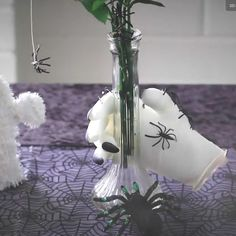 One does not typically think of flowers for Halloween, but this creepy floral arrangement fits the occasion perfectly. While the flowers may be beautiful, they are overrun by crawling spiders. And for the ultimate eek factor, a ghostly white dismembered hand is holding the arrangement.