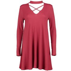 Boohoo Abigail Lace Up Rib Knit Swing Dress   Boohoo ($14) ❤ liked on Polyvore featuring tops, sweaters, red wrap sweater, nordic sweater, chunky sweaters, lace up top and chunky turtleneck sweater