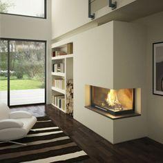 cheminée contemporaine, foyer d'angle à poêle fermé