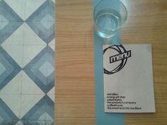 Above taken photo of the table and the floor design. Thessaloniki, Floor Design, Spoon, Flooring, Tableware, Dinnerware, Tablewares, Spoons, Wood Flooring
