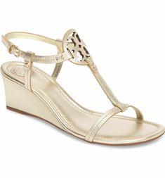 7a7e2ff36 Main Image - Tory Burch Miller Wedge Sandal (Women) Gold Sandals
