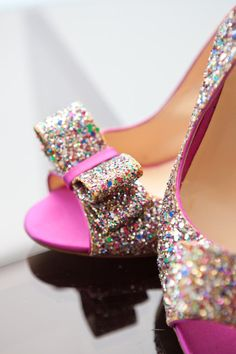 Pink glittery Kate Spade shoes. Love.