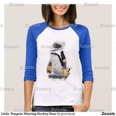 Little  Penguin Wearing Hockey Gear T-Shirt  #sports4you #Gravityx9