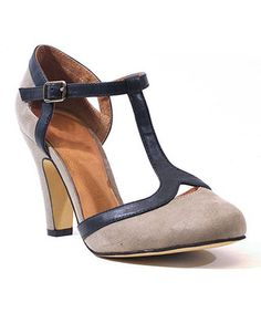 Gray & Navy Dalia Pump