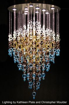 Gorgeous recycled glass chandelier by Kathleen Plate of Smart Glass and Christopher Moulder.