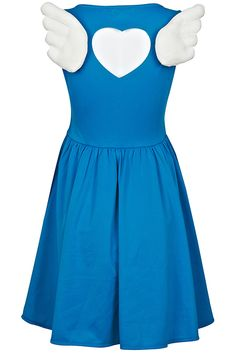 Cut-out Wings Embellished Blue Dress. Description Blue dress, featuring round neck, sleeveless, zippered side, angel wings embellishment on back with a heart-shaped cut-out, normal pleated hem, regular length, lined. Fabric Polyester. Washing 40 degree machine wash , low iron. #Romwe
