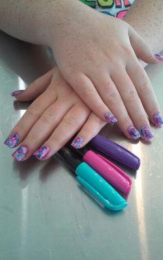 Pink purple sharpie nails