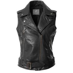 LE3NO Womens Faux Leather Moto Biker Sleeveless Vest With Pockets ❤ liked on Polyvore featuring outerwear, vests, fake leather vest, biker vest, vest waistcoat, sleeveless waistcoat and faux-leather vests