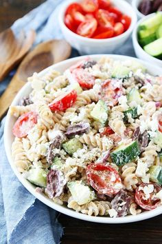 Creamy Greek Pasta Salad is a great cold pasta salad for barbecues and potlucks