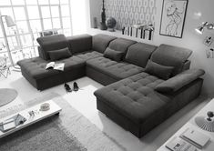 Wohnlandschaft U-Form Dunkelgrau Schlaffunktion L Sofas, Sofa Couch, Free Hd Wallpapers, Furniture, Home Decor, Products, Gray Couch Living Room, Gray Sofa, Ottoman Bench