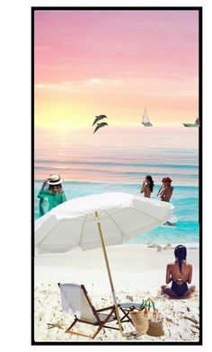 """""""Sunset at the beach"""" by mindy-2-1 ❤ liked on Polyvore featuring art, Summer, beach, artset and 2017"""